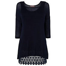 Buy Phase Eight Amelia Lace Hem Top, Denim Online at johnlewis.com