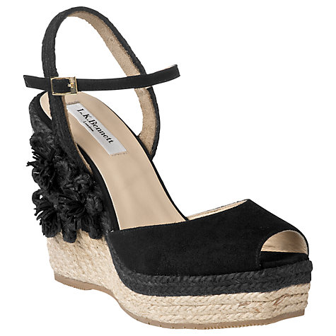 Buy L.K. Bennett Louisa Suede Raffia Platform Wedge Sandals Online at johnlewis.com