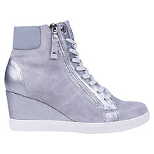 Buy Geox Eleni Suede Mix Wedge Heel Trainers, Pearl Online at johnlewis.com
