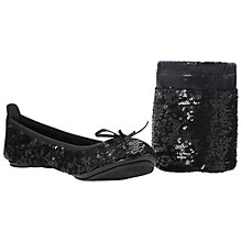 Buy Dune Manhattan Fold-Up Sequin Ballerinas, Black Online at johnlewis.com