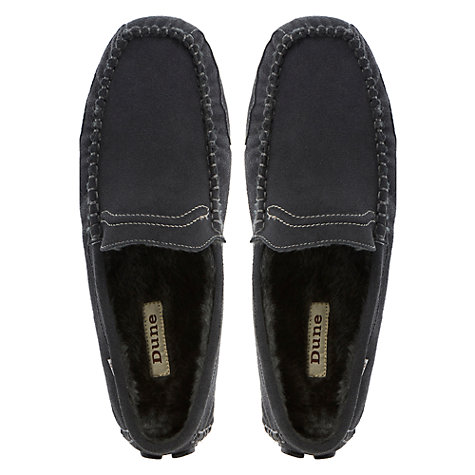 Buy Dune Freddie Furlined Driving Slippers, Navy Online at johnlewis.com