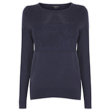 Buy Warehouse Ripple Stitch and Lace Jumper, Navy Online at johnlewis.com