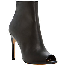 Buy Dune Heeled Peeptoe Leather Ankle Boot, Black Online at johnlewis.com