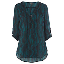 Buy Warehouse Graphic Wave Blouse, Teal Online at johnlewis.com