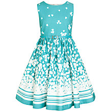 Buy John Lewis Girl Belted Heart Print Dress, Aqua Online at johnlewis.com