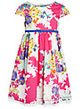 John Lewis Girl Short Sleeve Multi Flower Print Dress, Multi