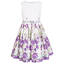 Buy John Lewis Girl Floral Print Flared Dress, White/Purple Online at johnlewis.com