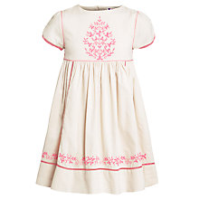 Buy John Lewis Girl Embroidered Cotton Prairie Dress, Oatmeal Online at johnlewis.com