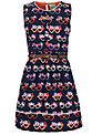 Yumi Girl Glasses Print Dress, Navy