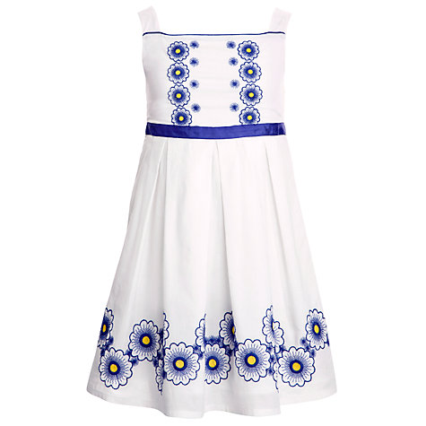 Buy John Lewis Girl Floral Embroidered Cotton Dress, White Online at johnlewis.com