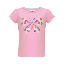 Buy John Lewis Girl Embroidered Butterfly T-Shirt, Pink Online at johnlewis.com