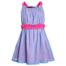 Buy John Lewis Girl Chambray Ruffle Waist Dress, Blue/Pink Online at johnlewis.com