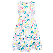 Buy John Lewis Girl Three Tiered Butterfly Print Dress, White/Multi Online at johnlewis.com