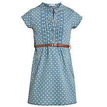 Buy John Lewis Girl Polka Dot Denim Dress, Light Blue Online at johnlewis.com