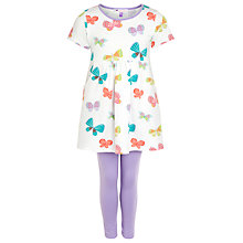 Buy John Lewis Girl Butterfly Dress & Leggings Outfit, White/Purple Online at johnlewis.com