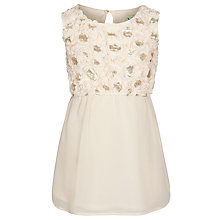 Buy Yumi Girl Floral Sequin Dress, Cream Online at johnlewis.com