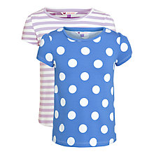 Buy John Lewis Girl Stripe & Polka Dot T-Shirts, Pack of 2, Blue/Lilac Online at johnlewis.com
