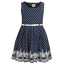 Buy Yumi Girl Spot and Broderie Dress, Navy Online at johnlewis.com