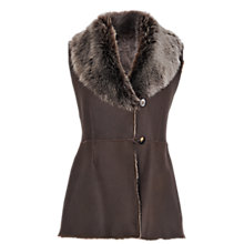 Buy Jaeger Shearling Gilet, Brown Online at johnlewis.com