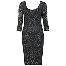 Buy Miss Selfridge Placed Lace Bodycon Dress, Black Online at johnlewis.com