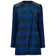 Buy Jaeger Longline Tweed Coat, Bright Blue Online at johnlewis.com