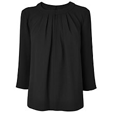 Buy Jaeger Ruched Neck Crepe Top, Black Online at johnlewis.com