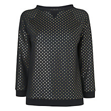 Buy Boutique by Jaeger Gold Spot Jersey Sweater, Black Online at johnlewis.com