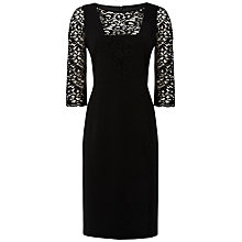 Buy Jaeger Lace and Crepe Dress, Black Online at johnlewis.com