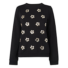 Buy Boutique by Jaeger Sequin Flower Jumper, Black Online at johnlewis.com