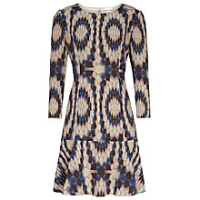 Buy Reiss Estelle Sleeve Print Dress, Black Online at johnlewis.com