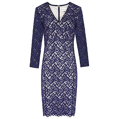 Buy Reiss Fern Lace Fitted Dress, Navy Online at johnlewis.com