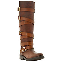 Buy Steve Madden Bryannt Multi-Strap Buckle Leather Long Boots Online at johnlewis.com