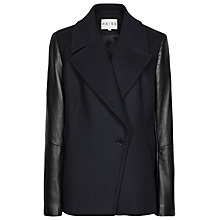 Buy Reiss Fante Leather Sleeve Coat, Navy Online at johnlewis.com