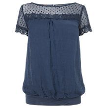Buy Phase Eight Lace Silk Blouse, Airforce Online at johnlewis.com