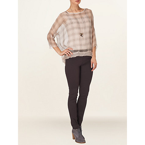 Buy Phase Eight Danica Check Silk Blouse, Pale Pink Online at johnlewis.com