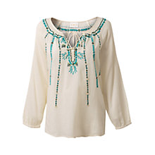 Buy East Button Embroidered Blouse, Winter White Online at johnlewis.com