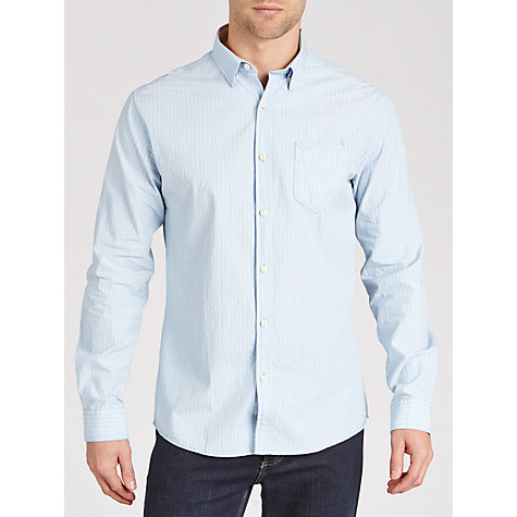 Buy Selected Homme Indigo Georg Long Sleeve Shirt, Light Blue Online at johnlewis.com