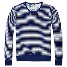 Buy Scotch & Soda Classic Stripe Crew Neck Jumper, Navy/White Online at johnlewis.com