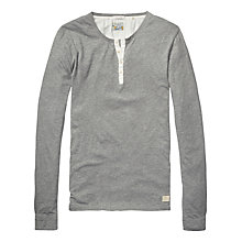 Buy Scotch & Soda Grandad Long Sleeve Jersey Top, Grey Online at johnlewis.com