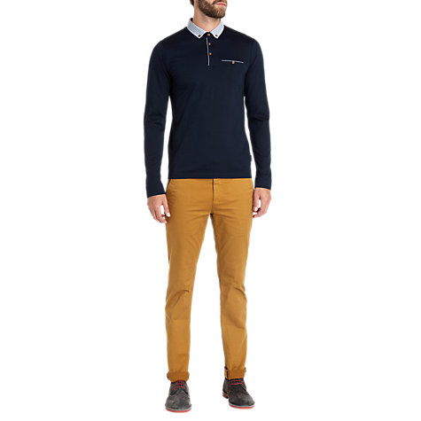 Buy Ted Baker Conoga Check Collar Long Sleeve Polo Shirt Online at johnlewis.com