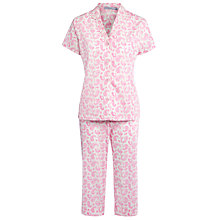 Buy John Lewis Summer Brights Pink Paisley Cropped Pyjama Set, Pink / White Online at johnlewis.com