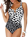 Miraclesuit Escape Social Circles Shaping Swimsuit, Black / White