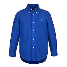 Buy Polo Ralph Lauren Boys' Long Sleeve Shirt, Blue Online at johnlewis.com