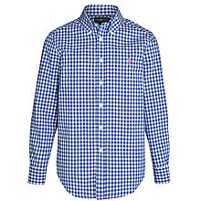 Buy Polo Ralph Lauren Boys' Long Sleeve Gingham Shirt, Blue/White Online at johnlewis.com