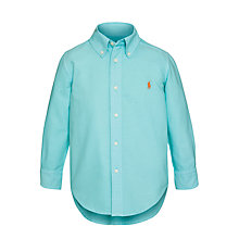 Buy Polo Ralph Lauren Boys' Long Sleeve Shirt, Turquoise Online at johnlewis.com