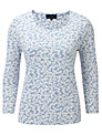 Viyella Leaf Print Jersey Top, Water