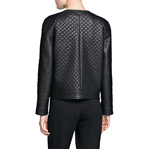 Buy Mango Metal Button Quilted Jacket, Black Online at johnlewis.com