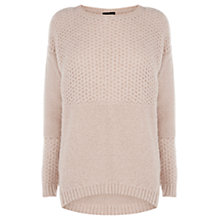 Buy Warehouse Curved Hem Fluffy Jumper, Pink Online at johnlewis.com