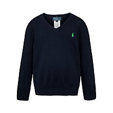 Buy Polo Ralph Lauren Boys' V-Neck Knitted Jumper, Navy Online at johnlewis.com