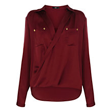 Buy Oasis Satin Wrap Shirt, Burgundy Online at johnlewis.com